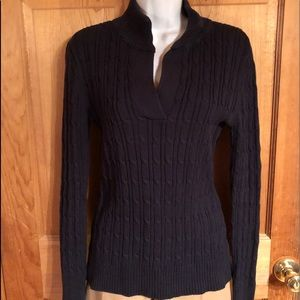 Liz Claiborne Navy Cable Knit Sweater, Sz Small
